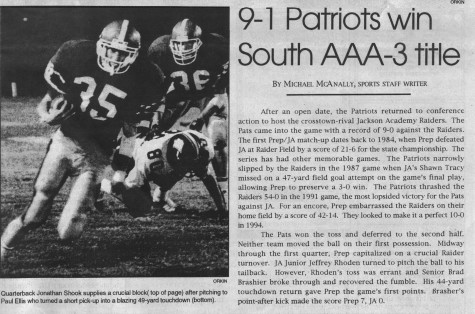 FROM THE ARCHIVES: Vol. XXV, No. 2 (October 1994) – 9-1 Patriots Win South AAA-3 Title