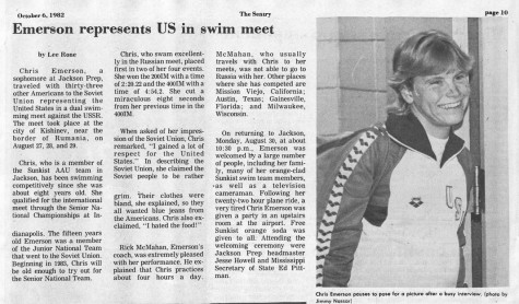 """FROM THE ARCHIVES: Vol. XIII, No. 1 (Oct. 6, 1982) – """"Emerson Represents U.S. in Swim Meet"""""""
