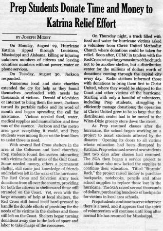 FROM THE ARCHIVES: Issue 1, Vol. XXXVI (Sept. 2005): Prep Responds To Katrina