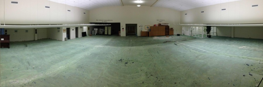 The Jesse L. Howell Library, stripped down to its flooring, awaiting renovation over the summer.