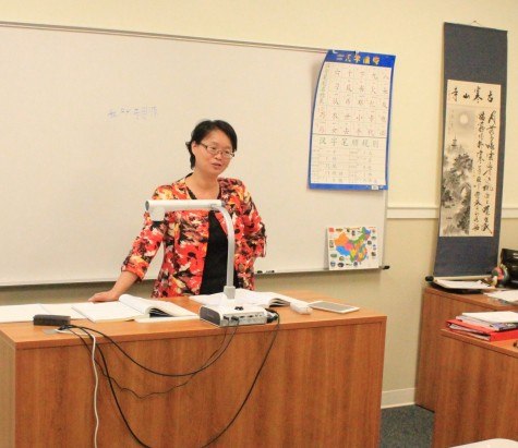 Ms. Jane Zhu in her Chinese language classroom. Photo by Paul Andress.