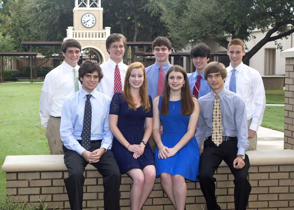 National Merits gather in front of the Clock Tower. From left to Right (top) Holt Crews, Peyton Parker, Ben Clark , Kyle Culbertson, Ben Van Pelt (bottom) Parker McGowan, Claire McDowell, Sarah Kennedy Duncan, and Thaddeus Cochrane