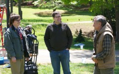 Actor Clark Duke, director Tom Rice, and the late Robin Williams on the set of the upcoming film