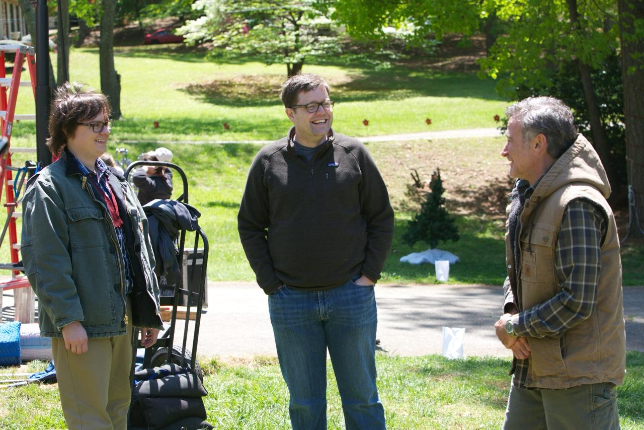 "Actor Clark Duke, director Tom Rice, and the late Robin Williams on the set of the upcoming film ""Merry Friggin' Christmas."" Photo courtesy of Tom Rice."