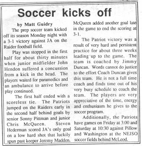"FROM THE ARCHIVES – Vol. XXI, No. 3 (Dec. 14, 1990): ""Soccer Kicks Off"""