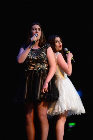 "(photo courtesy of Mr. Hubert Worley) Sarah Kennedy Duncan and Madeleine Porter sing ""What is This Feeling"" from Wicked"