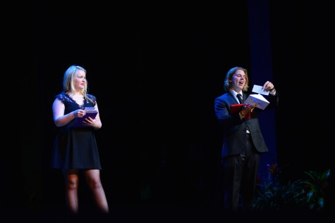 (photo courtesy of Mr. Hubert Worley) Trey Box and Brooke McCulley read out the winners of awards