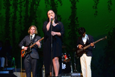 "(photo courtesy of Mr. Hubert Worley) Victoria Holmes, Trey Box, Jordan Parker, and Dees Baker play and sing ""Dream a Little Dream of Me"""