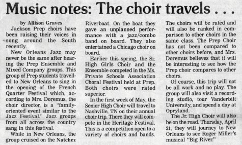 "FROM THE ARCHIVES: Vol. XVIII, No. 6 (May 9, 1988) – ""Music notes: The choir travels…"""