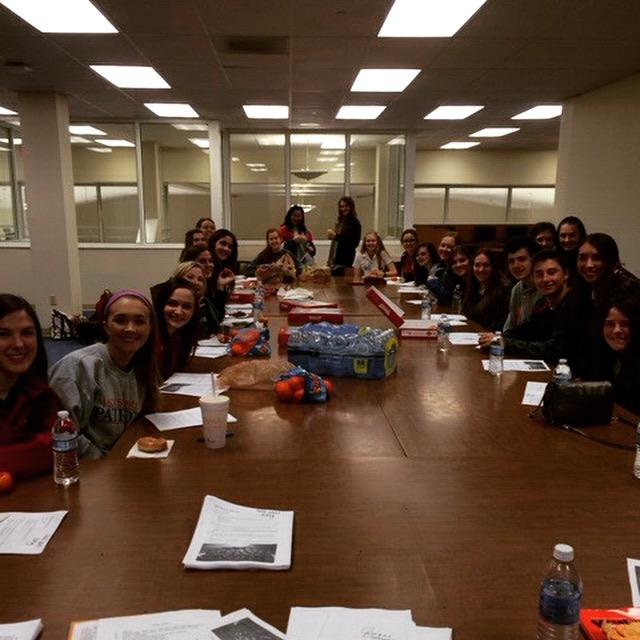 The first members of the club at the first meeting held in the large upper room of the McRae building on Friday, January 23. Photo courtesy of Ms. Lynch.