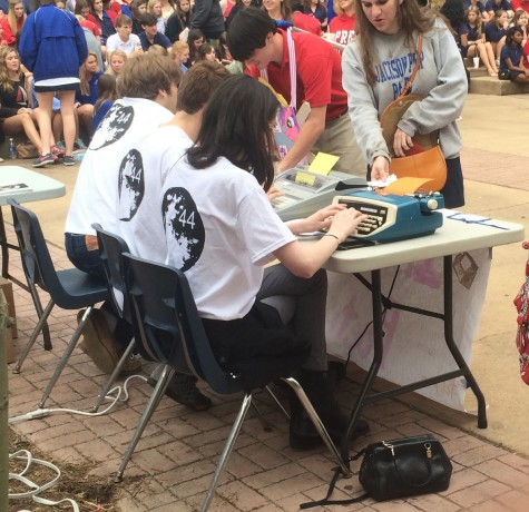 Part of the Earthwinds staff clicks away on typewriters to fill Instant Poetry requests.