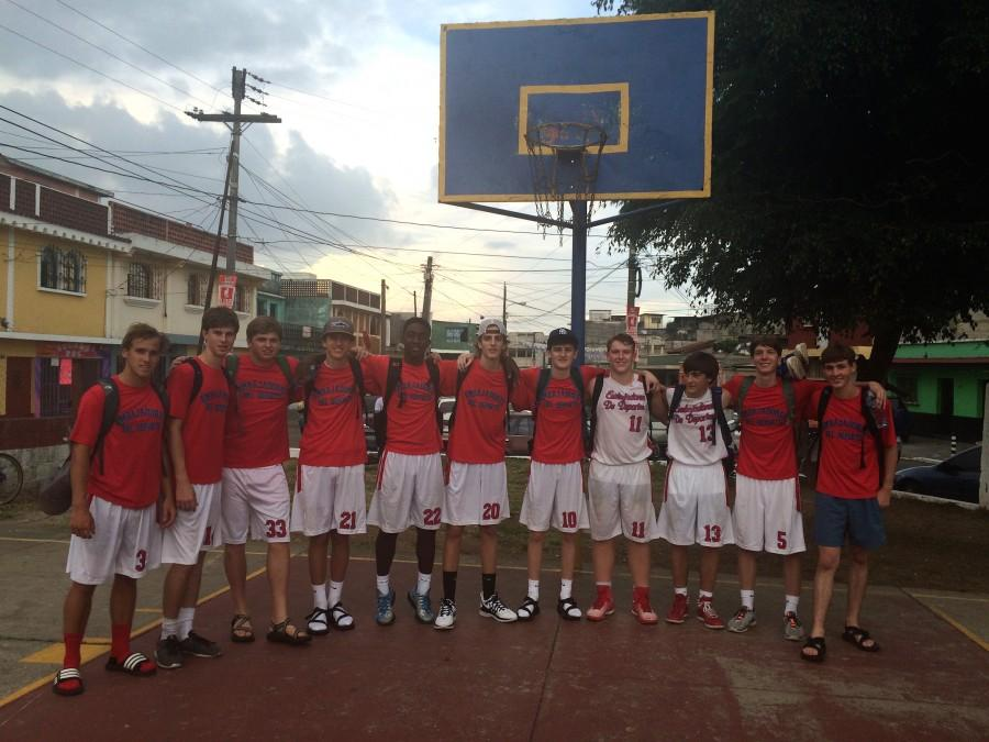(From Left to Right) Mitch Redding, Grant Robinson, Healy Vise, John Jeffreys, Jared Dodd, Robert Good, RJ Green, Paul Andress, Brendon McLeod, Jackson Phillips, and William Purvis take a picture after playing a local Guatemala City team. Photo by Paul Andress