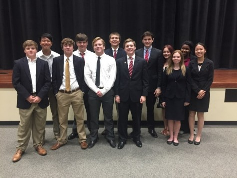 Students at the Oak Grove tournament (left to right): Stewart McCullough, Jack Zhu, Jacob Beard, David Banks, Reed Peets, Mitch Boulanger, George B Fike, Seth Lenoir, Lily Garretson, Chloe Fortner, Lauren Williams, Marina Joel. Not Pictured: Hunter Bryson and Anna Kat Ireland. Photo courtesy of Richard Younce.