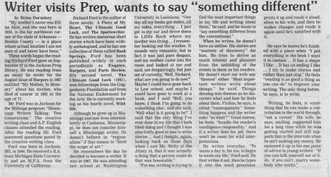 "FROM THE ARCHIVES (Vol. IXX, No. 2 – Nov. 11, 1988): ""Writer visits Prep, wants to say 'something different'"""