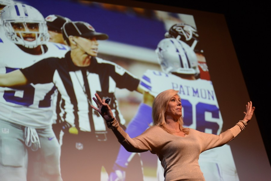 NFL referee Sarah Thomas addresses the Prep student body. Photo courtesy of Hubert Worley Photography.