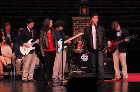 "Student band, known as the Elders, performing ""Grease"" by Frankie Vallie. Photo courtesy of Hubert Worley Photography."