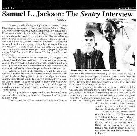 "FROM THE ARCHIVES (Vol. XXVI, No. 3 – Jan. 1996): ""Samuel L. Jackson: The Sentry Interview"""