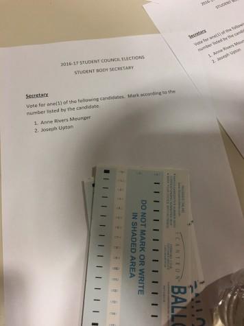 The Student Body Secretary ballot. Photo by Ellis Abdo