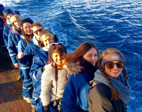 The Prep group bundled against the cold in the Arctic Ocean. Photo courtesy of Ms. Norma Cox.