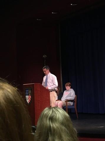 Coach Saxon address the Student Body. Photo by Ellis Abdo