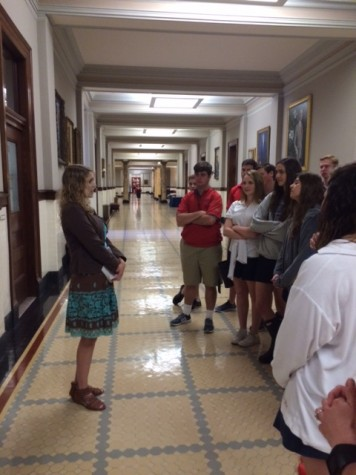 Prep alum Catherine Wilks conducts current Prep students on a tour of the Capitol. Photo courtesy of Ms. Lou Ann McKibben.