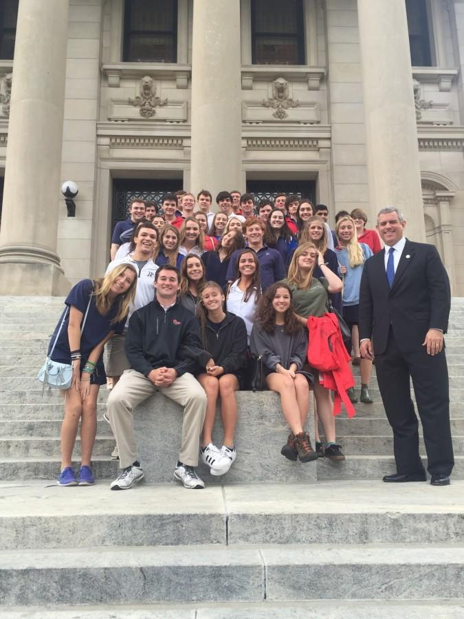 Prep seniors on the steps of the Capitol with Speaker Phillip Gunn. Photo courtesy of Ms. Lou Ann McKibben