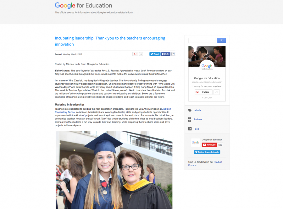 Ms. McKibben Honored by Google for Education