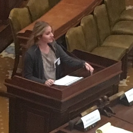 Rep. Kennedi Pass makes a point about her bill.