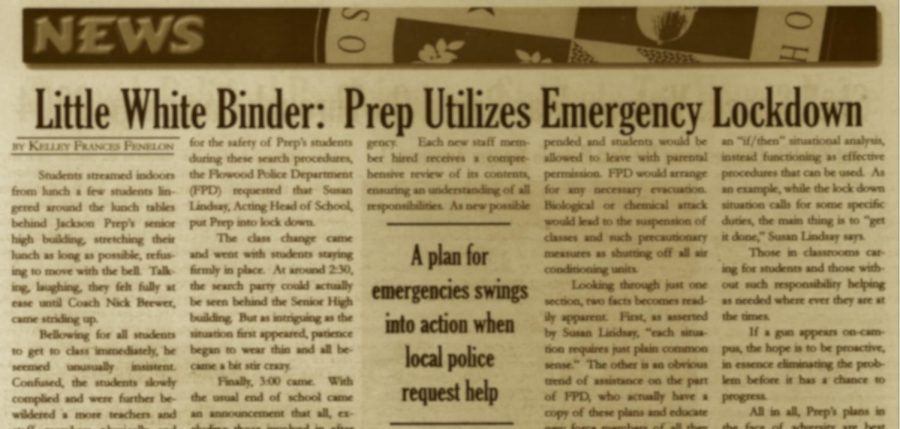 "FROM THE ARCHIVES (Vol. XXV, Issue 2 – Nov. 2004): ""Little White Binder: Prep Utilizes Emergency Lockdown"""