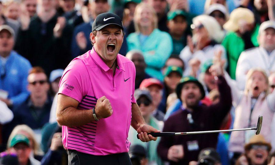 Patrick Reed celebrates after winning the Masters golf tournament Sunday, April 8, 2018, in Augusta, Ga. (AP Photo/David Goldman) ORG XMIT: AUG524