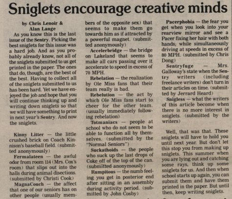 "FROM THE ARCHIVES (Vol. XVI, No. 6 – May 1986): ""Sniglets encourage creative minds"""