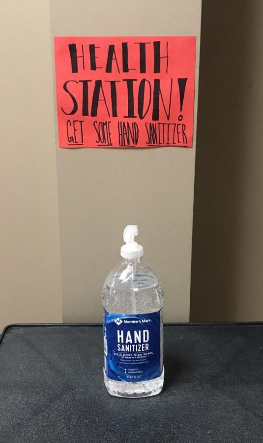 Sanitation stations, like this one in the hallway of the Guyton Center, offer an effective way to slow the spread of the flu.