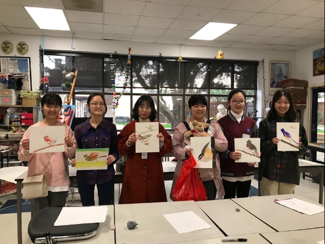 Chinese students display their work in one of Prep's art rooms