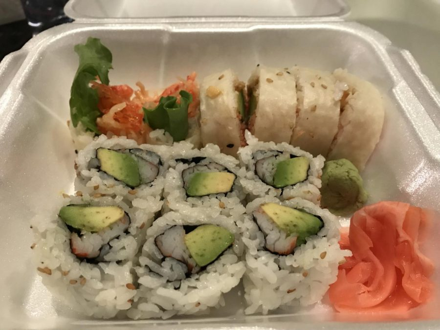 Sushi from Little Tokyo. Photo by Ainsley O'Quinn.