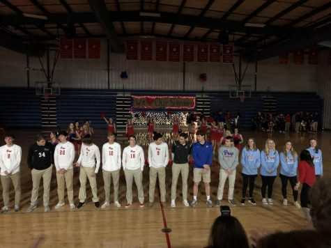 Varsity basketball and soccer teams cheered at pep rally