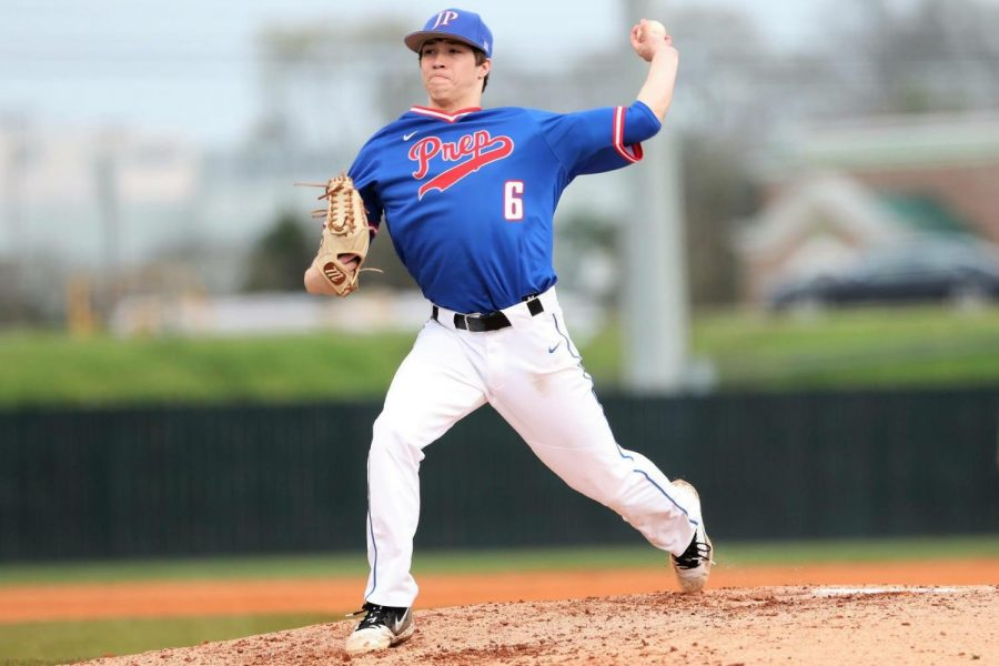 Senior Bryson Weeks  mid-pitch during a game. Photo courtesy of Beverly Oden.