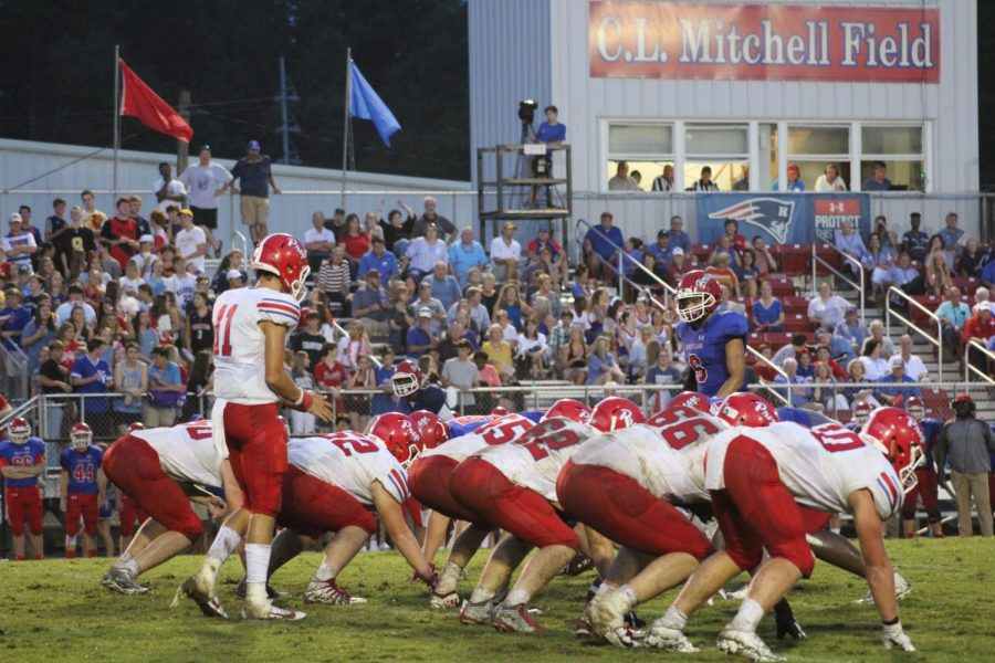 Patriots get set for a play at Heritage Academy