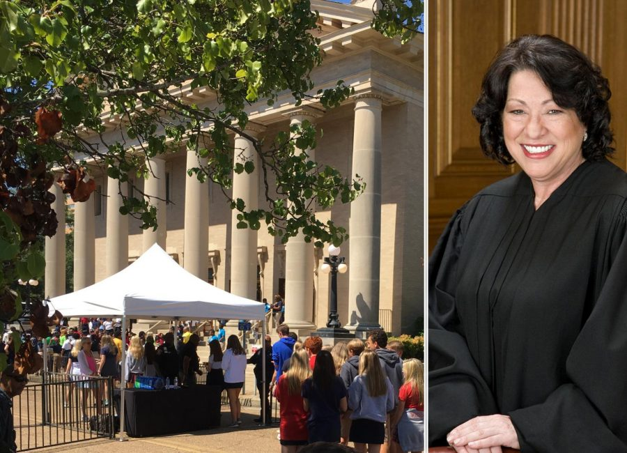 Students line up (left) to see Justice Sotomayor (right). Photos by staff (left) and courtesy U.S. Supreme Court (right)