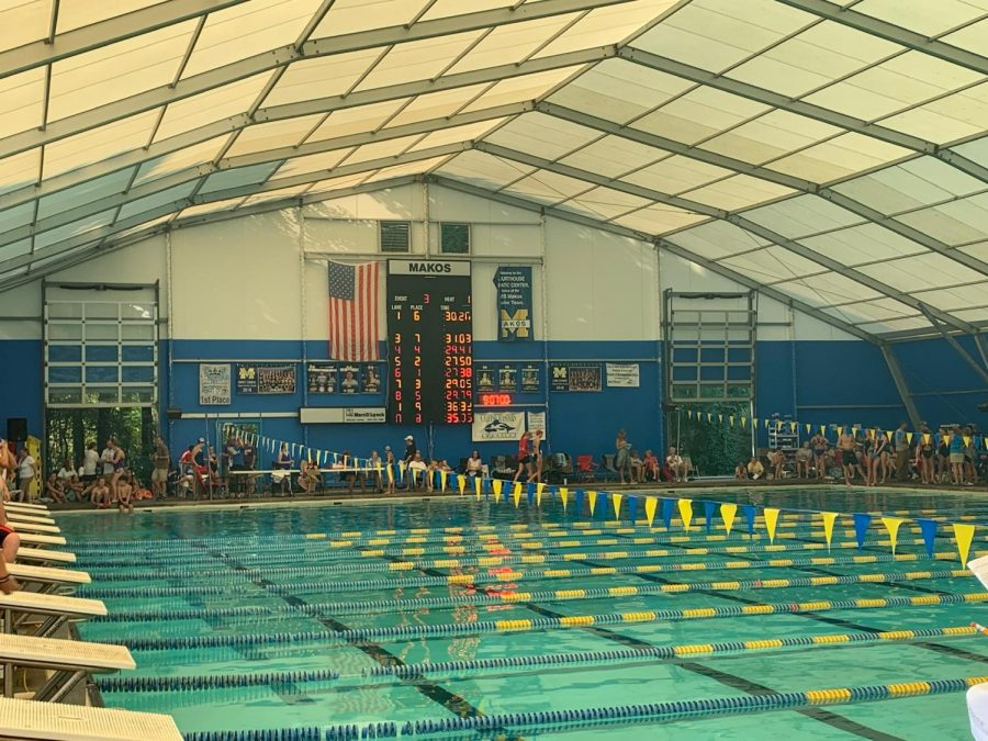 Underneath the dome at the MAIS swim meet at the Lakeland Courthouse.