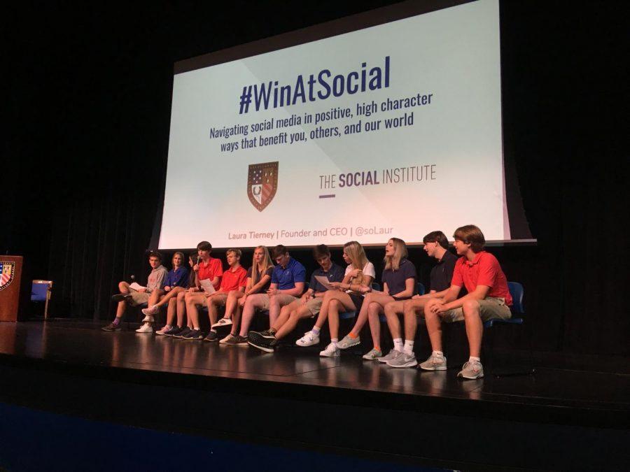 A panel of Prep students were selected to debate social-media issues at the Social Institute forum.