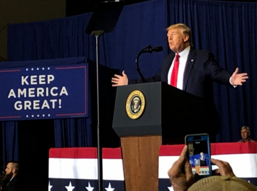 President Donald J. Trump speaks to rally attendees in Tupelo, MS.