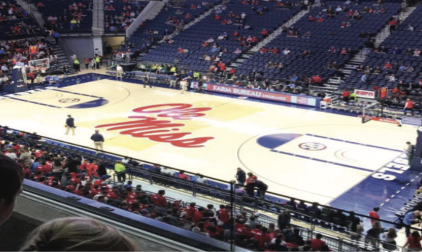 Ole Miss' Pavilion gleaming under the lights. Photo by Charles Stephenson