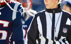 Sarah Thomas officiates the Los Angeles Chargers at the New England Patriots game.