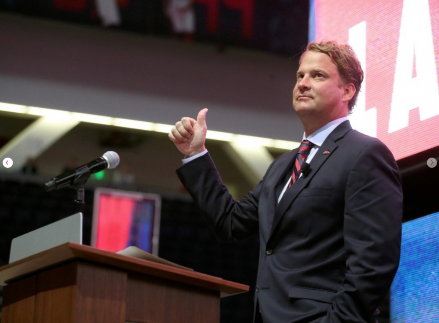 Lane Kiffin being introduced as Ole Miss' new head football coach.
