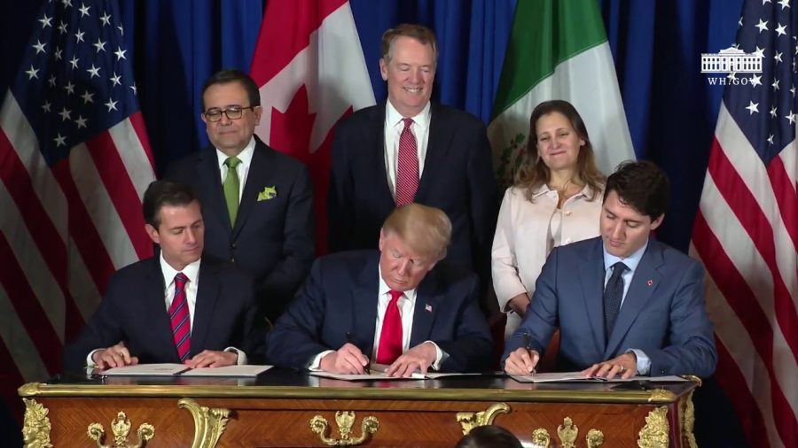 North American leaders sign the USMCA on November 30, 2018. Photo courtesy of The White House