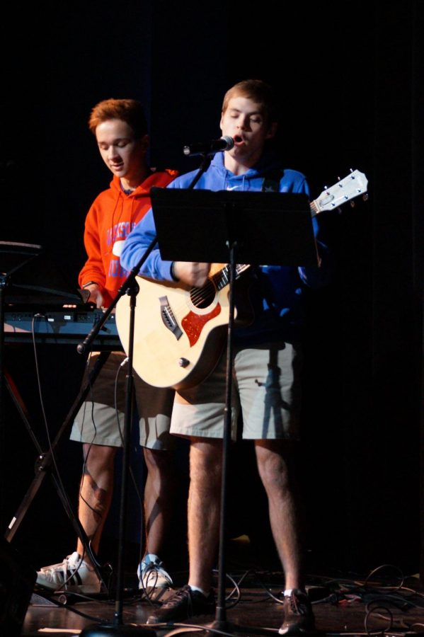 Hayden Mathis and Walker Jay Patterson lead worship for the students at Pursuit.