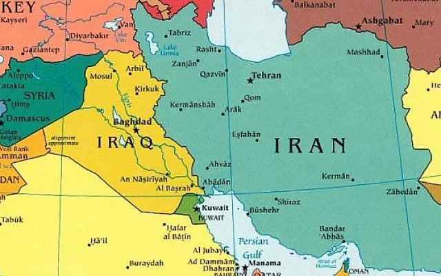 A map of the middle east showing Iraq and Iran.