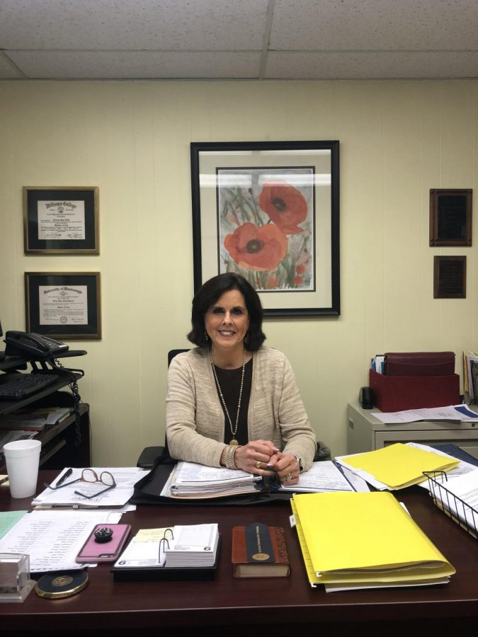 Ms. Trudy Powers, head of the junior high, in her office.