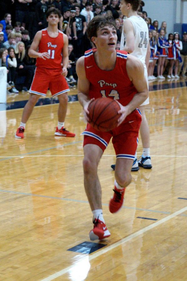 Andrew Purvis prepares to shoot the ball.