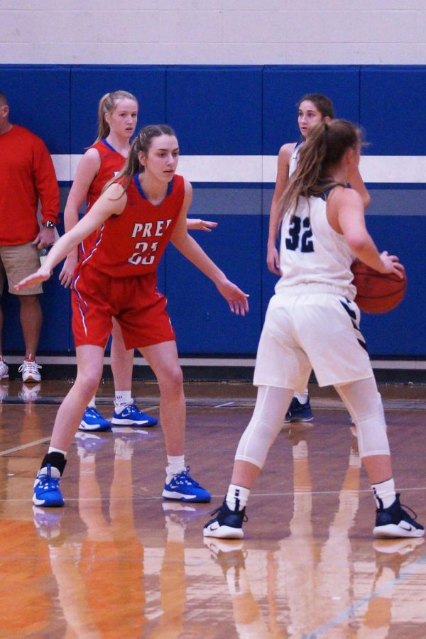 Julia Stradinger plays defense.
